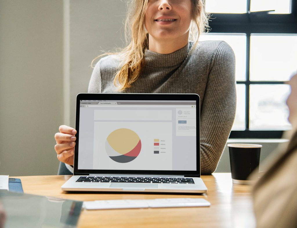 Woman sitting at the computer doing design work